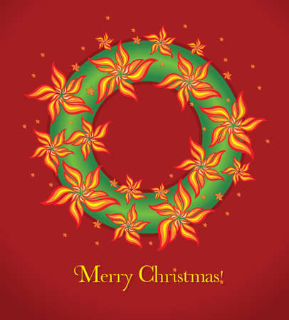Merry Christmas card  Vector garland with flowers and christmas tree Stock Vector - 15542711