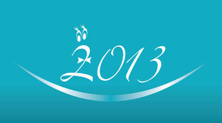 White 2013 year on a blue background, vector illustration of 2013 numbers sign Vector