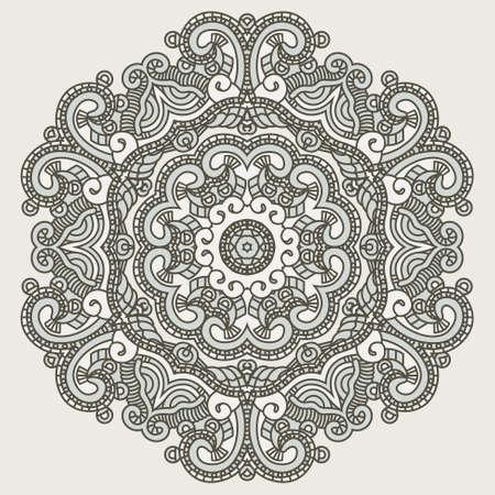 lace filigree: Colorful ethnicity round ornament Illustration