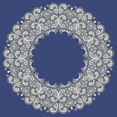 Ornamental colorful round floral ethnicity lace pattern, mosaic stained glass Vector