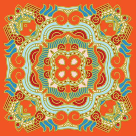 prognostication: Set of colorful ethnicity square ornament