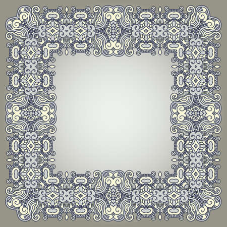 Abstract ornamental square frame, elegant vintage label, illustration Vector