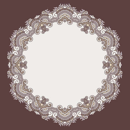 Colorful round ornament on a brown background,  stained glass Vector