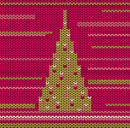 Knitted Christmas Tree Vector