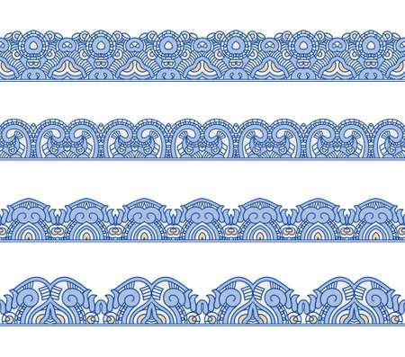 simplicity: Conjunto de fronteras con el ornamento. Colección de rayas inconsútiles florales ornamentales. Soluciones interesantes para el diseño de su