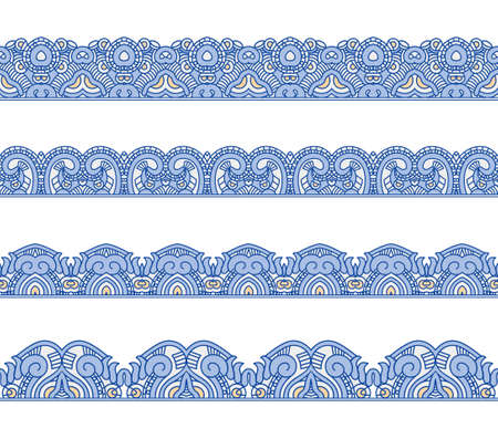 Set of borders with ornament. Collection of seamless ornamental floral stripes. Interesting solutions for your design Vector