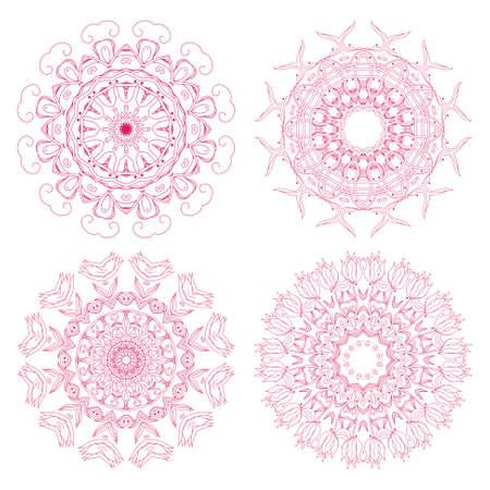 escarapelas: Conjunto de rosetones florales Vectores