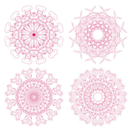 Set of floral rosettes Vector
