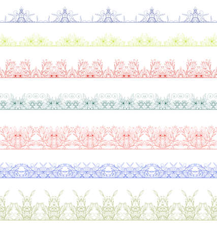 strap: Set of floral borders with ornament. Collection of seamless ornamental floral stripes. Interesting solutions for your design