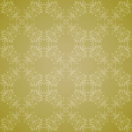 Seamless wallpaper with floral ornament Vector