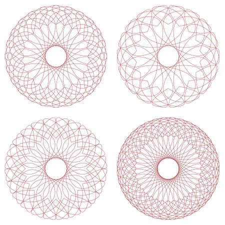 escarapelas: Conjunto de rosetones del guilloquis del vector Vectores
