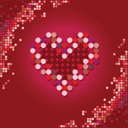 Heart of the stars on a red background Vector