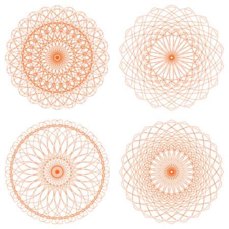 rosettes: Conjunto de rosetones del guilloquis Vectores