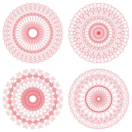 Set of Vector Guilloche Rosettes Vector