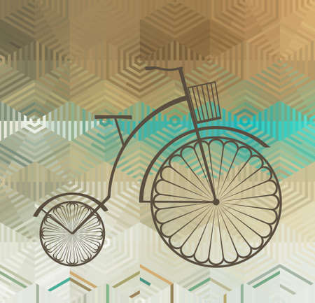 bike cover: Retro Bicycle on a Color Background Made of Triangles and Stripes,  Background with Geometric Shapes
