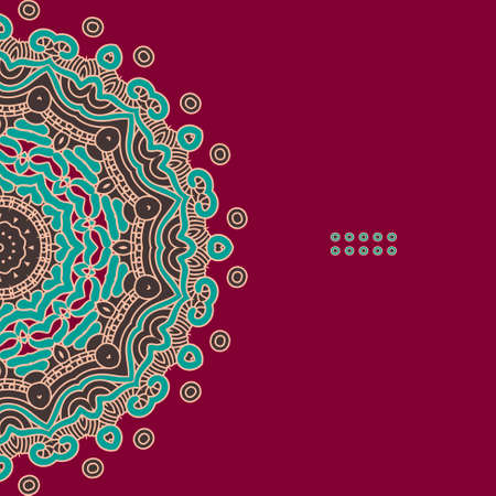 Colorful Round Ornamental Pattern, Greeting Card Template Design Vector