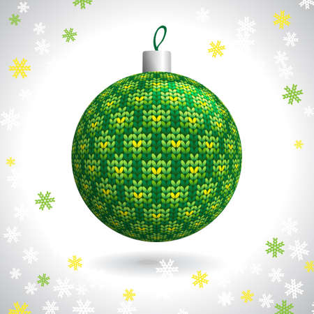 Green Knitted Christmas Ball on the Background of Snowflakes Knitted, Vector Illustration EPS10 Stock Vector - 21330467