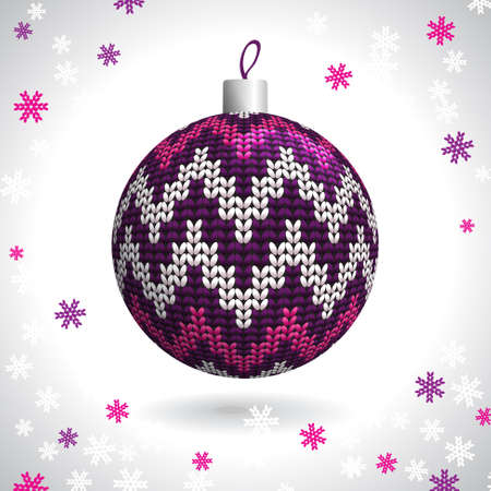 Multicolored Knitted Christmas Ball on the Background of Snowflakes Knitted, Vector Illustration EPS10 Stock Vector - 21330468