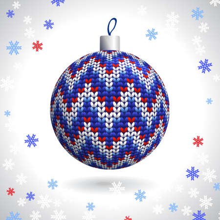 Multicolored Knitted Christmas Ball on the Background of Snowflakes Knitted, Vector Illustration EPS10 Stock Vector - 21330470