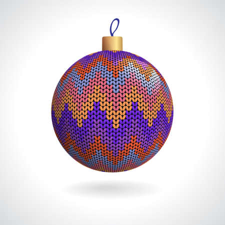 Multicolored Knitted Christmas Ball on a White Background, Vector Illustration EPS10 Illustration