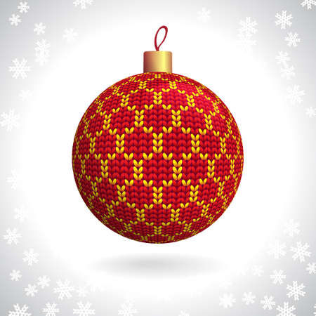 Red Knitted Christmas Ball on the Background of Snowflakes Knitted, Vector Illustration EPS10 Stock Vector - 21330472