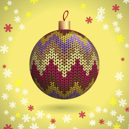 Multicolored Knitted Christmas Ball on the Yellow Background of Snowflakes Knitted, Vector Illustration EPS10 Stock Vector - 21330480