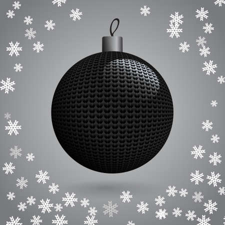 Black Knitted Christmas Ball on the Background of Snowflakes Knitted, Vector Illustration EPS10 Vector