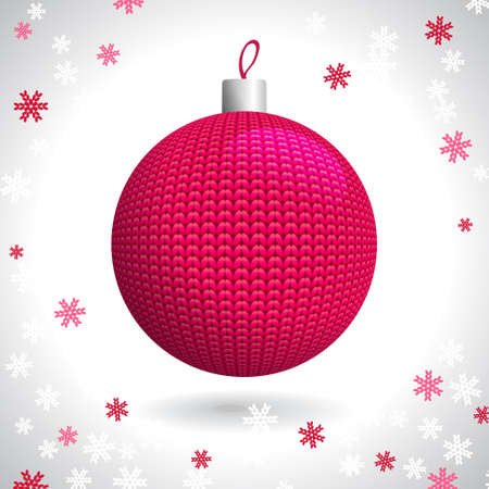 Red Knitted Christmas Ball on the Background of Snowflakes Knitted, Vector Illustration EPS10 Vector