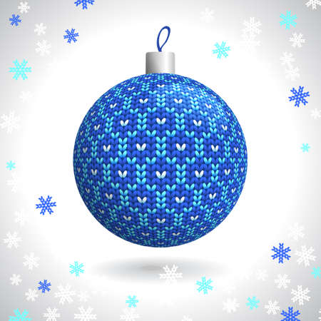 Blue Knitted Christmas Ball on the Background of Snowflakes Knitted, Vector Illustration EPS10 Vector