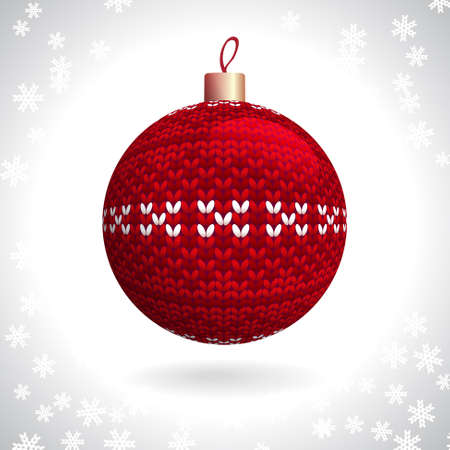 Red Knitted Christmas Ball on the Background of Snowflakes Knitted, Vector Illustration EPS10 Stock Vector - 21330487