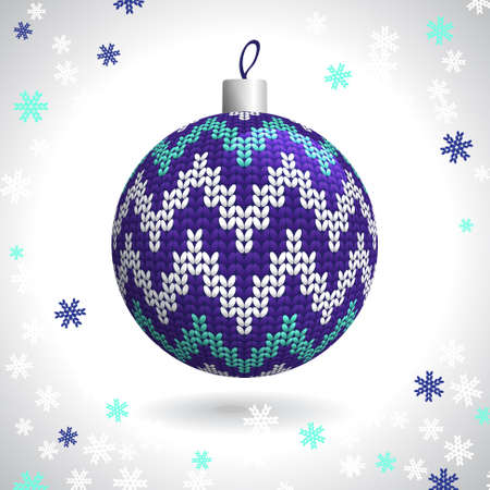Multicolored Knitted Christmas Ball on the Background of Snowflakes Knitted, Vector Illustration EPS10 Stock Vector - 21330492