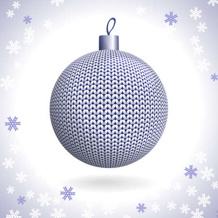 Silver Knitted Christmas Ball on the Background of Snowflakes Knitted, Vector Illustration EPS10 Vector