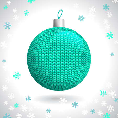 Green Knitted Christmas Ball on the Background of Snowflakes Knitted, Vector Illustration EPS10 Stock Vector - 21330491