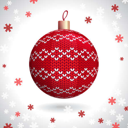 Red Knitted Christmas Ball on the Background of Snowflakes Knitted, Vector Illustration EPS10 Stock Vector - 21330496