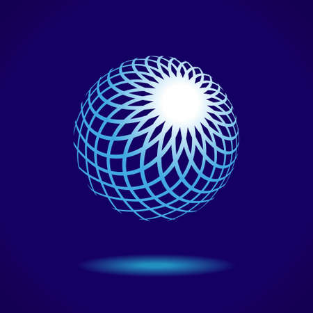 Abstract Design Icon Element, White Sphere on a Blue Background, Vector EPS10