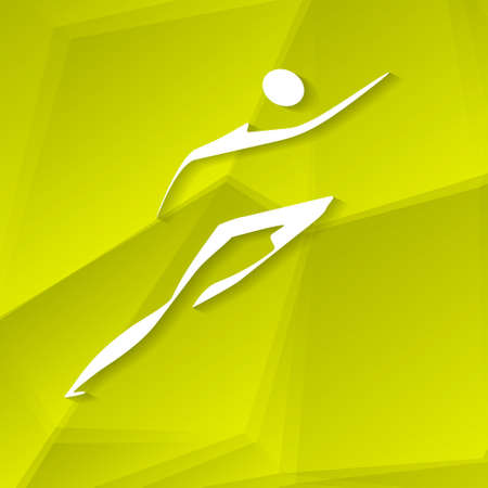 White Runner Icon on Textured Yellow Background, Vector Illustration
