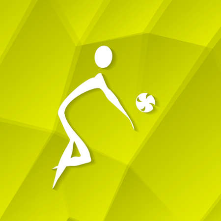 White Volleyball Icon on Textured Yellow Background, Vector Illustration  Vector