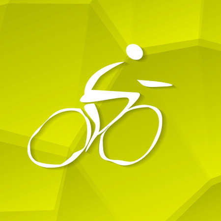 White Cyclist Icon on Textured Yellow Background, Vector Illustration  Vector