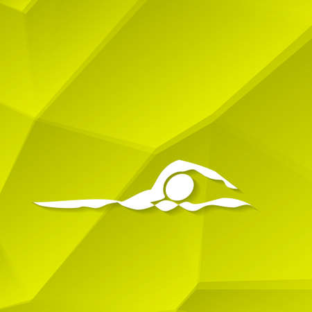 swim race: White Swimmer Icon (Swimming Icon) on Textured Yellow Background, Vector Illustration