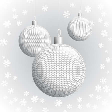 Three White Knitted Christmas Balls on the Background of Snowflakes Knitted, Vector Illustration  Vector