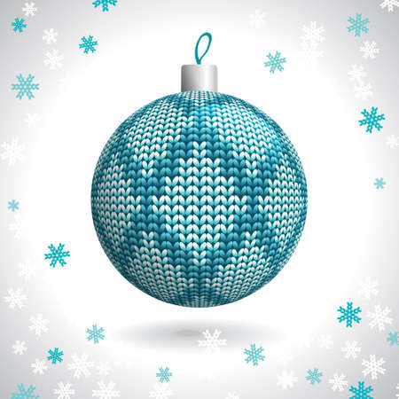 Knitted Christmas Ball on the Background of Snowflakes Knitted, Vector Illustration  Vector