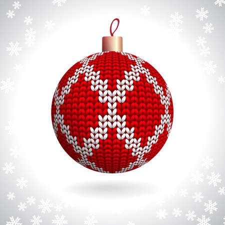 knitted background: Red Knitted Christmas Ball on the Background of Snowflakes Knitted, Vector Illustration