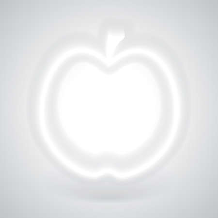 convexity: Glowing White Apple with Shadow on Gray Background