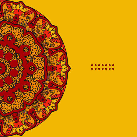 Colorful Round Ornamental Pattern, Greeting Card Template Design, Mosaic Vector Illustration Illustration