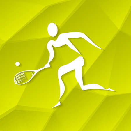 White Tennis Icon on Textured Yellow Background Vector