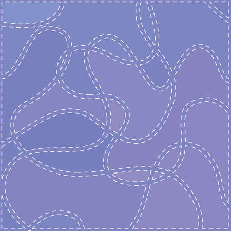White Curved Seams on a Blue Background, Abstract Pattern, Vector Illustration Vector