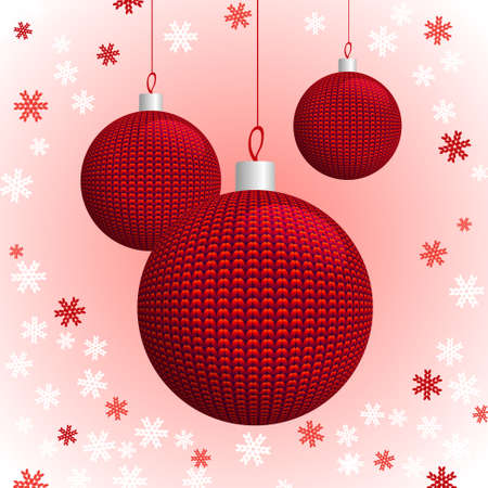 Three Red Knitted Christmas Balls on the Background of Knitted Snowflakes, Vector Illustration EPS10 Vector