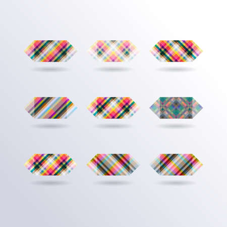 Set of Vector Striped Colorful Squares Icons, Collection of Modern Design Elements Vector
