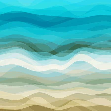 抽象的なブルーとベージュの波のデザインの創造性の背景、ベクトル イラスト EPS10