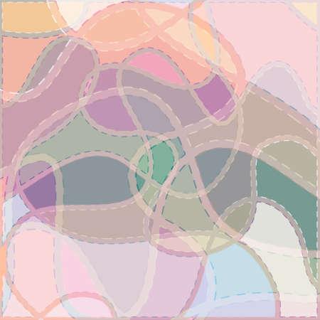 色のカラフルな背景、抽象的なパターン、ベクトル画像の曲線縫い目  イラスト・ベクター素材